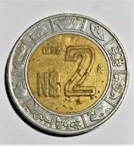 MEXICO  -  1992  MEXICAN 2 NEUVO PESOS COIN MONEY
