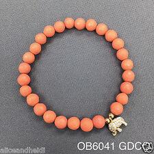 Coral Beaded Semi-Precious Cubic Zirconia Elephant Stretch Bangle Bracelet