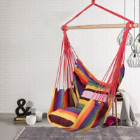 Deluxe Hanging Rope Chair Swing Yard Garden Patio Hammock Cotton Patio Outdoor