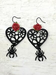 Pair Black Flower Heart Earrings Red Rose Spider Gothic Wicca Pagan Halloween