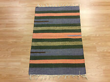 A righe arancio verde handloomed 100% cotone PATCHWORK Durrie MAT imbottiture 2x3 50% di