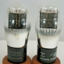 pair 45 National Union NU Radio Audio Amplifier Tubes Test Strong Guaranteed