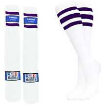 8 PAIRS SPORTS TUBE SOCKS COTTON PURPLE STRIPES 22 INCHES OLD SCHOOL LONG SOCKS