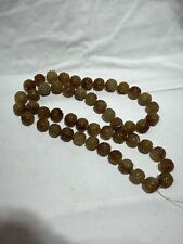 Vintage Chinese Brown Jade Carved Bead Necklace Long Strand