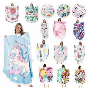 Beach Towel Bath Gym Spa Floral Print Round Cotton Beach Towel With Fringes