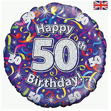 Age 50 50th Birthday 18 inch Holographic Glizty Foil Balloon