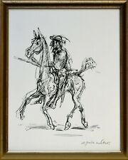 A. Paul Weber: Don Quixote. Signierte Original-Federzeichnung. Gerahmt.
