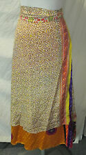 Indian Double Layer Vintage Silk Magic Wrap Around Skirts or Dresses