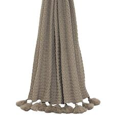 KNITTED RIBBED TAUPE TASSELLED THROW BLANKET 140CM X 180CM
