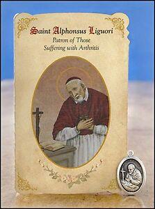 St Alphonsus Liguori Healing Holy Card with Medal for Arthritis NEW MC013