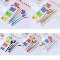 7Pcs/set Cutlery Set Knife Fork Spoon Straw With Cloth Pack Xmas Snowman Pattern