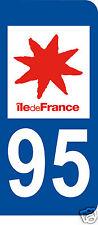 1 Sticker plaque immatriculation AUTO adhésif département 95