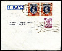 BRITISH INDIA TO USA Air Mail Cover 1946 VF