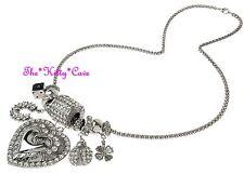 Designer Silver Rhodium Crystal Heart Ladybug Horseshoe Charms Catwalk Necklace