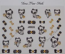Nail Stickers Black Cats Gold Rhinestones Gold  Bows Cute Polka Dot JH035 - UK