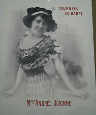AFFICHE ANCIENNE TOURNEES CHARLES BARET Mlle ANDREE DIVONNE PHOTO MANUEL
