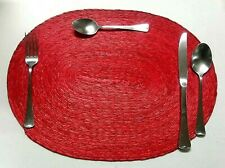 4 New beautiful Hand Woven Palm straw oval Placemats Red Made in Mexico
