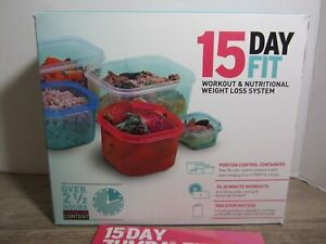 Zumba 3 DVD 8 WORKOUTS Cardio Abs, 15 Day Fit Total Body PORTION CONTAINERS NEW