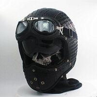 Retro Motorcycle Helmet Full Face w/Goggles Sun Visor Deluxe Leather Street Bike