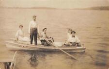 RPPC Group In Canoe, Dragon Lake, MI Postmarked Fremont, IN 1908 Postcard