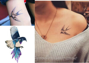 Sparrow Swallow Swift Bird Love Free Spirit Peony Temporary Tattoo Body Art