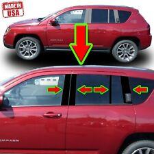 Black Pillar Trim for Jeep Compass 07-16 8pc Set Door Cover Piano Post