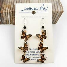 Sienna Sky Earrings Sterling Silver Hook Cascading 3D Monarch Butterflies Unique