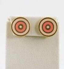 Vintage TRIFARI TM Earrings Coral Peach BULLSEYE Enamel Gold Tone GRAPHIC DESIGN
