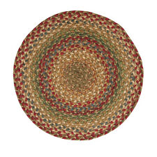 "Homespice AZALEA Braided Jute 15"" Round Placemat Red, Green, Blue & Tan"
