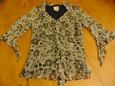 Ice Blouse sheer ruffled floral black gray, beading on front, silk M