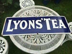 VINTAGE COLLECTABLE LYONS' TEA BLUE AND WHITE ENAMEL ADVERTISING SIGN