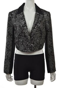 Free People Womens Blazer Size 12 Black Floral Long Sleeve Party Jacket