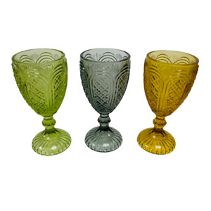 GLASS GOBLETS COLOURED DESSERT WEDDING TABLE HOME DECOR TABLEWARE WINE GLASSES