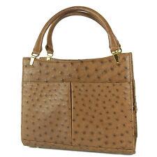 Genuine Real Ostrich Skin Leather Luxury Hand Bag Brown F/S 22737eSaM