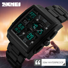 Military Men Fashion Quartz Digital Waterproof Analog Date Sport Square Watch US
