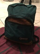 Vintg Outdoor Products Green Canvas Suede Leather Bottom Backpack Campus USA