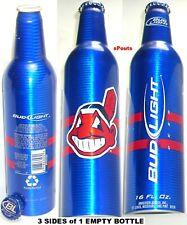 2007 CLEVELAND INDIAN CHIEF WAHOO MLB OH BASEBALL BUD LIGHT BEER ALUMINUM BOTTLE