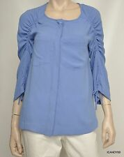 Nwt $198 Nanette Lepore Bungle Jungle Ruch-Sleeve Blouse Shirt Top Periwinkle S