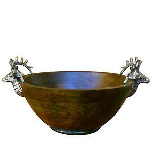 Table Bowl Green Paint Wash Elk Kitchen Counter Deer Antler Ends