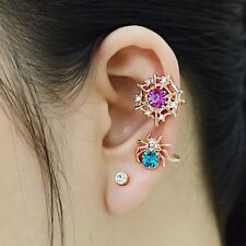 Stud Gothic Crystal Halloween Jewelry Cuff Spider Web Earrings Golden Ear Clip