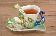 Peacock Coffee Tea Cup & Saucer Ceramic Beautiful Chinese Mug 3D Dinnerware New
