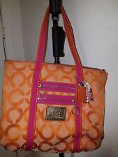 Poppy Glam Coach OP Art Signature K0994-13826 satchel purse, pink and orange