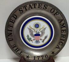 United States Of America Collectible Plate Metal Ceramic 1776 Bald Eagle Decor