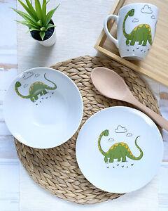 Dinner Set of porcelain dishes Dinosaur Diplodocus , 1 mug and 2 plates