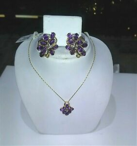 14K YG Amethyst and Diamond Necklace & Earring Set