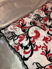 """1 MTR WHITE/RED/BLACK SCALLOPED BRIDAL EMBROIDERED LACE NET FABRIC 52""""WIDE £10"""