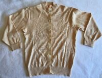 VTG 1950s Jantzen 34 Cardigan Sweater Tan Kharafleece Ribbon Trim Womens USA