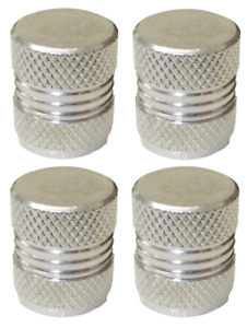 Dust Caps Silver Round High Quality Metal Metallic Pack of 4 Caps