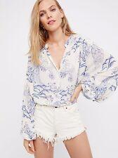 162223 NEW Free People Metallic Blooms Printed Buttondown Shirt Tunic Top M