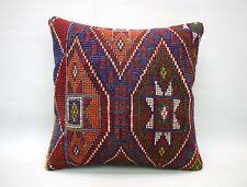 Kilim Square Pillow, 18x18 in, Decorative Throw Cushion, Handmade Vintage Pillow